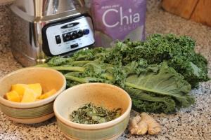 L -R: Mango; Moringa; Ginger; Kale; Chia Seeds